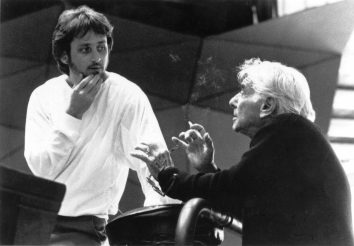 Carl St.Clair with Leonard Bernstein; Summer, Tanglewood 1985.JPG