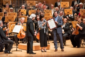 Carl St.Clair, Pacific Symphony Music Director; Michelle Steel, Vice Chair, Supervisor Second District; John Forsyte, Pacific Symphony President